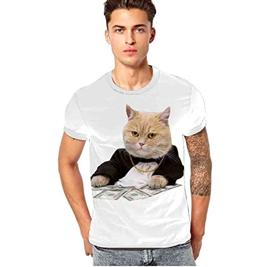 9d605fa3d888 Summer Mens Tees Tops Blouse Cute Cat Print Trend Short Sleeve T-Shirt  Class Work