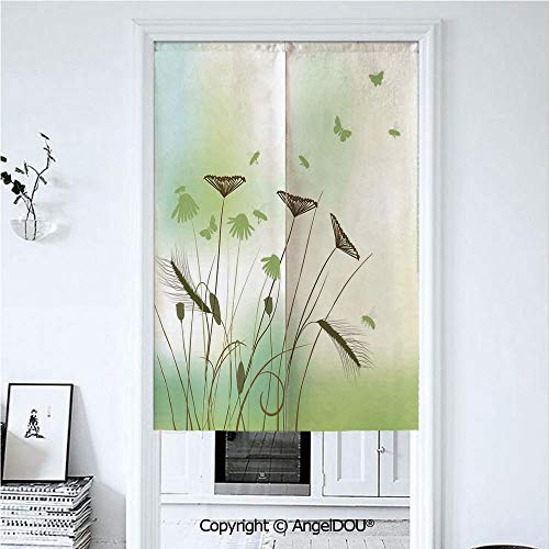 AngelDOU Butterfly Door Curtains Home Decor Modern Valances Silhouette of Dragonflies Bees Butterflies Flying All Over The Flowers Spring Theme Room Divider for Bedroom Kitchen. 33.5x59 inches