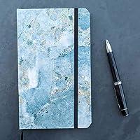 Cuaderno mediano mármol azul interior puntos pasta suave
