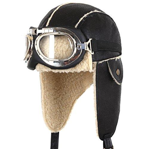 ililily Aviator Hat Winter Snowboard Fur Ear Flaps Trooper Trapper Pilot Goggles, Black/Beige