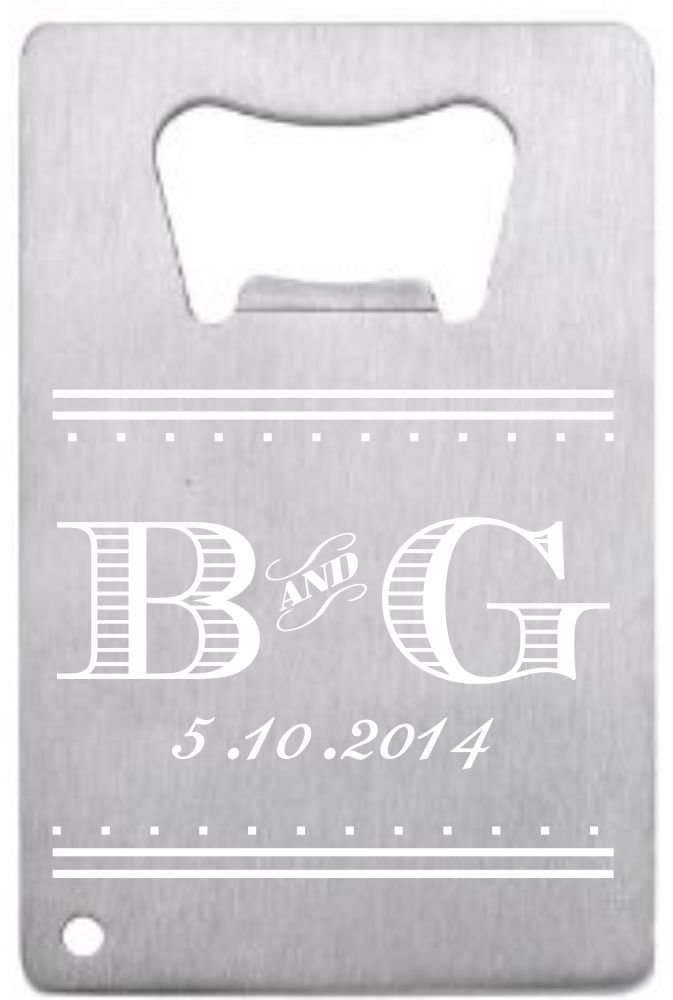 Lazer Designs Customized Wedding Favor Credit Card Opener Personalized For Guests Stainless Initials 100 pieces