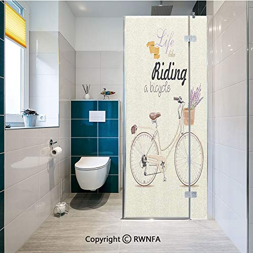 (RWNFA Decorative Window Films Boho Pop Art Antique Bike Illustration with an Aesthetic Lavender Bouquet Basket Kitchen Glass Sticker Waterproof Anti-UV for Home and Office 23.6