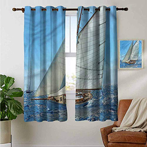 petpany Blackout Curtains Nautical,Sailboat Regatta Race,Thermal Insulated Panels Home Décor Window Draperies for Bedroom 42