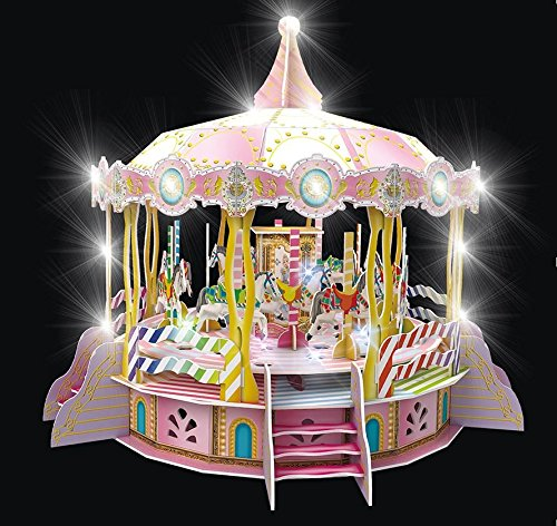 3 Piece Sound Puzzle - Daron Merry Go Round 3D Puzzle with Lights & Sounds (106 Piece)