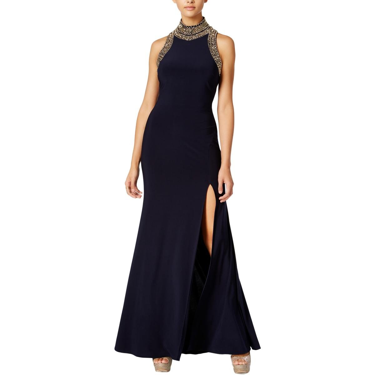 Blondie Nites Womens Embellished Mock-Neck Formal Dress Navy 13