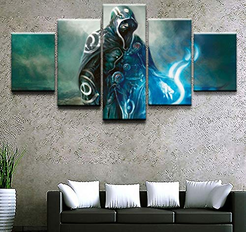 sansiwu X Wall Art Picture Canvas Print Modern Home Decor Frame 5 Pieces Gathering Magic Game Fantasy Jace Beleren Warrior Painting Poster
