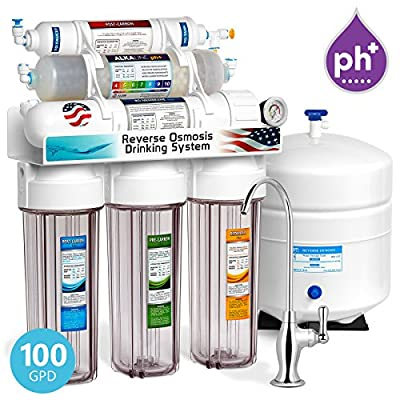 Express Water 10 Stage Home Drinking Filtration System Alkaline pH+ Reverse Osmosis 100 GPD RO Membrane Clear Housing Deluxe Chrome Faucet Pressure Gauge Residential Under Sink Purification ROALK10DCG