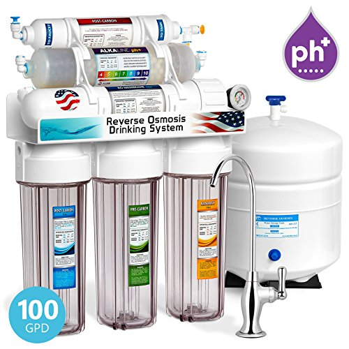 (Express Water Alkaline Reverse Osmosis Filtration System – 10 Stage RO Mineralizing Water Filter – Mineral, pH + Antioxidant – Under Sink Water Filter with Remineralization – 100 GDP with)