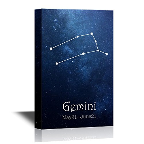 wall26 - 12 Zodiac Signs Constellation Canvas Wall Art - Gemini - Gallery Wrap Modern Home Decor | Ready to Hang - 16x24 inches
