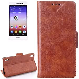 Oil Leather Case with Credit Card Slot & Holder for Huawei Ascend P7 (Brown)
