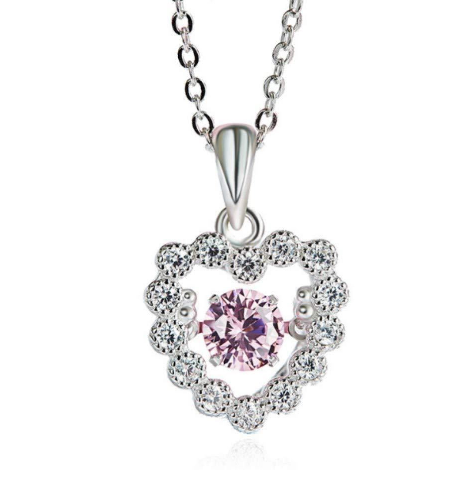 QWERST女性ネックレススターリングハート型ペンダントファッションシンプルなエレガントな絶妙なチャームネックレス最高の贈り物ピンク   B07MJGGRKN