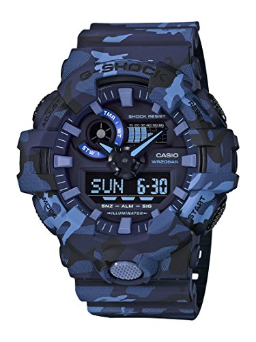 Casio GA700CM-2A G-Shock Men's Watch Blue Camo 53.4mm (Seconds Date Day Month)