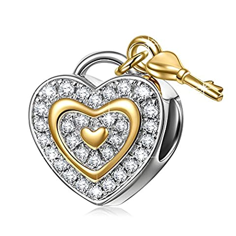 NinaQueen Love You Forever 925 Sterling Silver Lock Key Dangle Heart Shape Fit Pandöra Charms for Bracelets Necklace Jewelry Christmas Gifts For Women Birthday Anniversary Gifts For Wife Mom - Glistening Heart