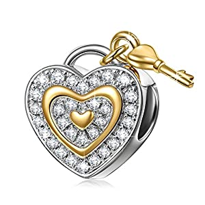 NINAQUEEN 925 Sterling Silver Charms ♥Valentine's Jewelry Gifts♥ with Fine Gifts Packing, Gold Plated Heart Key Beads Engraved Love You Forever, Suitable for Bracelet for Her