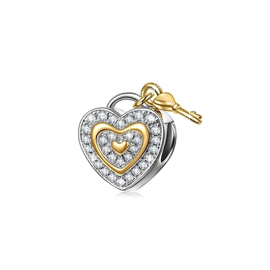 NINAQUEEN 925 Sterling Silver Charms ♥Christmas Jewelry Gifts♥ with Fine Gifts Packing, Gold Plated Heart Key Beads Engraved Love You Forever, Suitable for Bracelet for Her