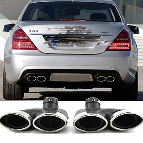 Car Rear Muffler Pipe for Mercedes Benz W220 S430 S500 S320 Exhaust Tip Stainless Steel Dual Tail Pipes(2pcs)