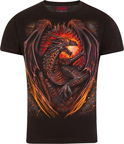 Spiral - Mens - Dragon Furnace - T-Shirt Modern Cut Turnup Sleeve Black - M