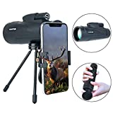 HD Monocular Telescope, Waterproof Monoculars Scope with Low Night Vision with Phone Photography Adapter and Phone Tripod for Hunting/Camping/Travel