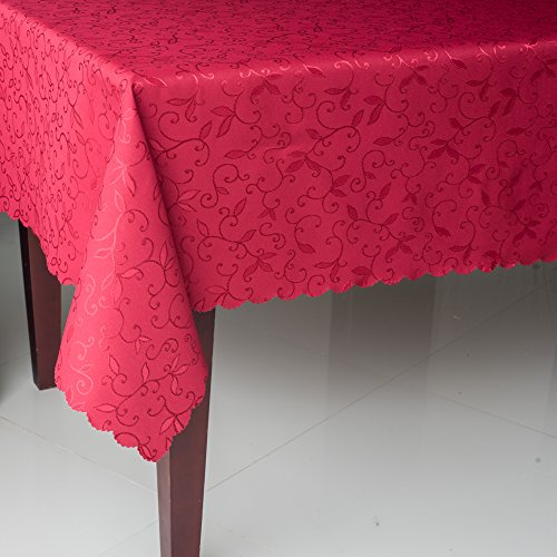 """Turkish Tablecloth Polyester Table Linen, Stain Resistant, Wrinkle free, Non-Iron, Dust-proof, Heavy Duty, Oblong, Square, Round – Table cover for Wedding, Party, Gift (RED, Rectangular 60""""x104"""")"""