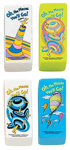 Raymond Geddes Dr. Seuss Oh The Places Beveled Eraser, 48 Pack (68300) -