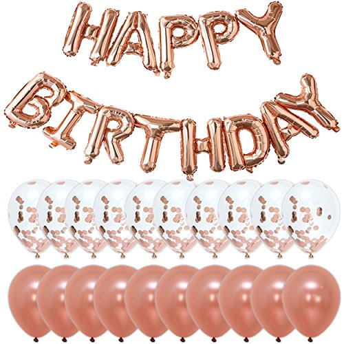 Rose Gold Happy Birthday Party Decorations | Banner Letter Balloons + 10pcs 18 Confetti + 10pcs 18 Large Latex Balloons | Kit/Set for Bday Décor