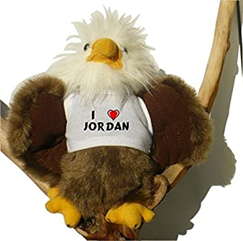 Águila calva de peluche con Amo Jordan en la camiseta
