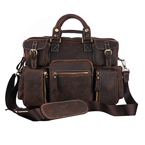 Paonies Women Men Leather 17'' Laptop Briefcase Shoulder Bag Tote for Travel Office by Paonies