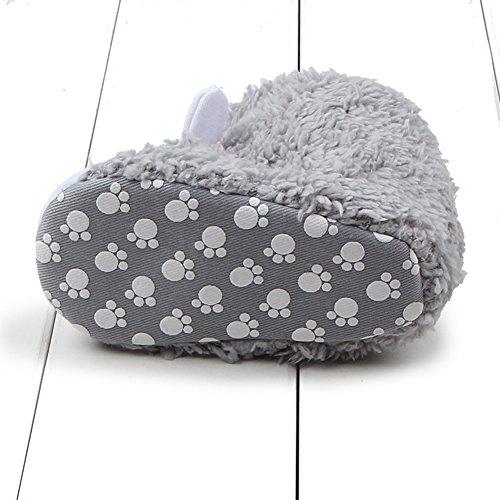 Baby Casual Stiefel Bootie Hausschuhe - hibote Kleinkind Weiche Sohle Stiefel Prewalker Schuhe Warme Anti-Rutsch Hausschuhe Krippeschuhe Grau