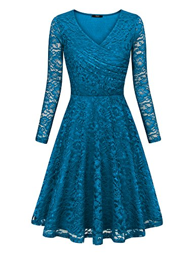 Laksmi A Line Dress, Womens Long Sleeve Pleated V Neck Fit and Flare Elegant Party Homecoming Floral Lace Swing Dress,Dcn Large