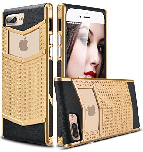 iPhone 8 Plus Case, iPhone 7 Plus Case, Ansiwee Anti-slip Shockproof Armor iPhone 7 Plus Protective Defender Case Slim Fit Non-slip Grip Rubber Bumper Case for iPhone 7/8 Plus 5.5 Inch (Gold)