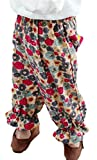 Wofupowga Girls Floral Print Athletic Elastic Waist Pocket Jogger Pants Red 2T