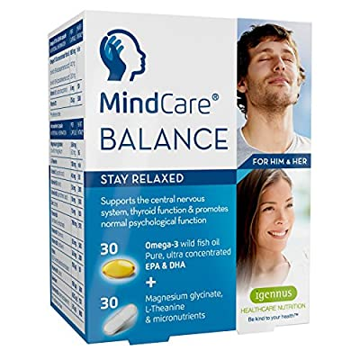 MindCare BALANCE stress & anxiety relief supplement - omega-3 fish oil, magnesium, L-Theanine & multivitamins for central nervous system support, 30 omega-3 + 30 micronutrient capsules