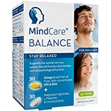 MindCare BALANCE stress & anxiety relief supplement - omega-3 fish oil, magnesium, L-Theanine & multivitamins for stress & adrenal support, 30 omega-3 + 30 micronutrient capsules