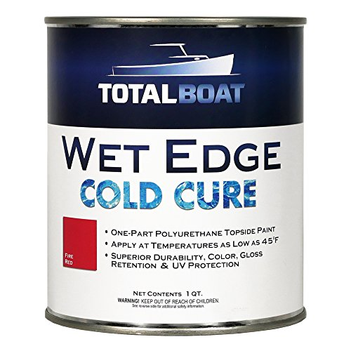 TotalBoat Wet Edge Cold Cure Marine Topside Paint (Fire Red, Quart)