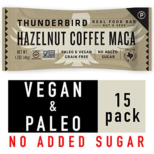 Thunderbird Paleo and Vegan Snacks - Real Food Energy Bars - Nut & Seed - Box of 15 - No Added Sugar, Grain and Gluten Free, Non GMO (Hazelnut Coffee Maca)