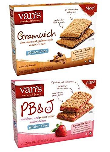 Vans Gluten Free Sandwich Bars 2 Flavor Variety Bundle   1  Pb J  And  1  Gramwich Chocolate Graham  7 05 Oz  Ea   2 Boxes Total
