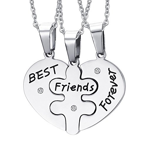 AENMIL Friendship Forever 3 Part Girlfriends Love Necklace, Stainless 3-IN-1 Pendant Individual Chain (Parts Repair Individual)