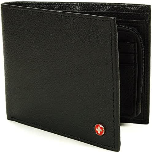 Alpine Swiss Mens RFID Blocking Leather Wallet Zipper Coin Purse Card Slots Case
