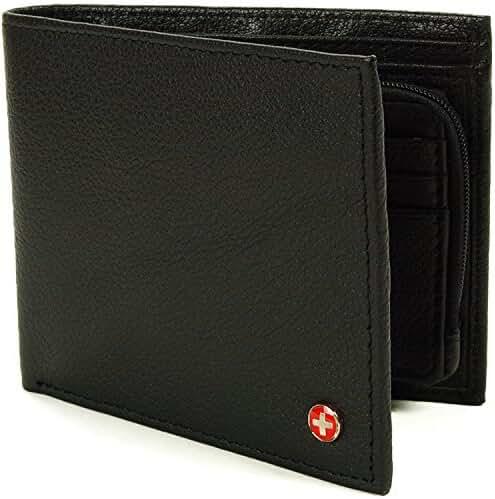 Alpine Swiss Mens RFID Blocking Leather Wallet Zipper Coin Purse Card Slots Case