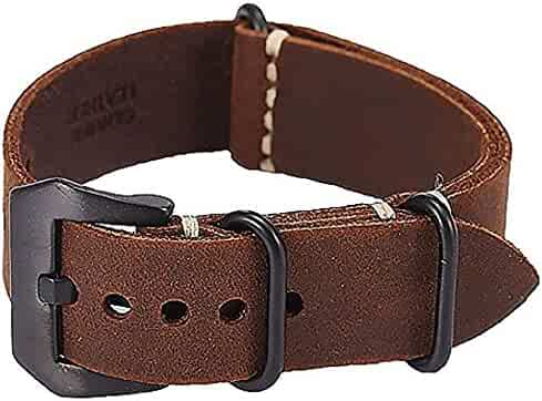 Brown 24mm Suunto Core Bell & Ross Watch Band Strap crazy horse leather Buckle lugs+Adapter