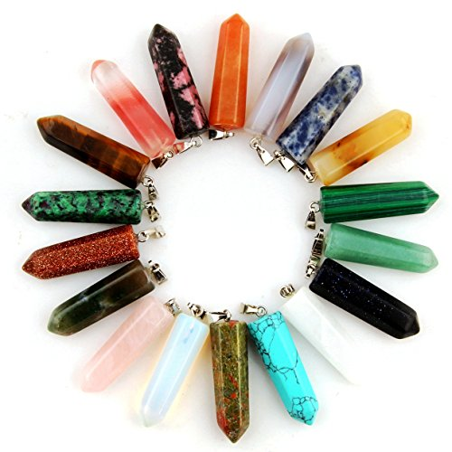 12pcs Healing Pointed Chakra Beads Pendants Point Bullet Shape Quartz Crystal Teardrop Stone Random Color Beads Pendant (Mixed Color) - Nature Cherry Quartz Gemstone Bead