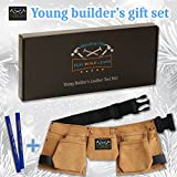 Real leather kids tool belt with two blue carpenter pencils gift set