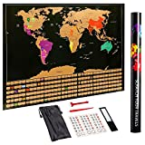 Scratch Off World Map Travel Poster Wall Art - with United States & All Country Flags - Detailed Cartography - Track Your Adventures - Premium Quality & Durability - 32 x 23 Inches