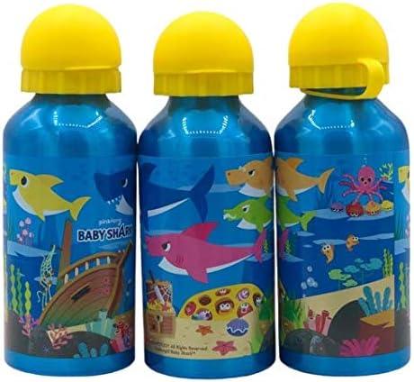 Una Botella de Agua de aluminio de baby shark, cantimplora a Prueba de Fugas sin BPA para Levar a la Escuela y Deportes el Termo/ 400ml (Azul)