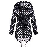 Meaneor Women's Long Sleeve Fishtail Dot Print Cute Raincoat Waterproof Jacket