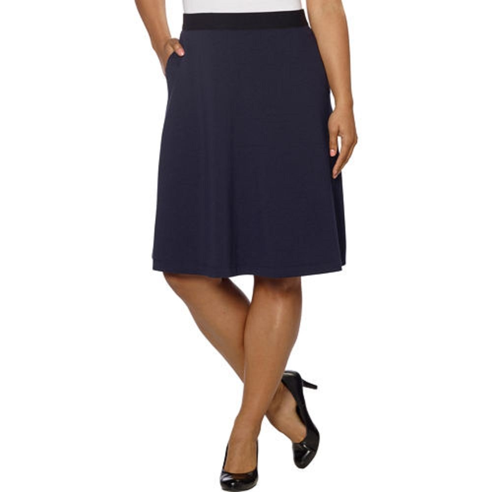 Ellen Tracy Womens Circular Ponte Skirt with Pockets (Medium, Navy)
