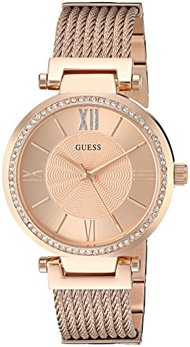 GUESS  Rose Gold-Tone Stainless Steel Crystal Bangle Bracelet Watch with Self-Adjustable Links. Color: Rose Gold-Tone (Model: ()