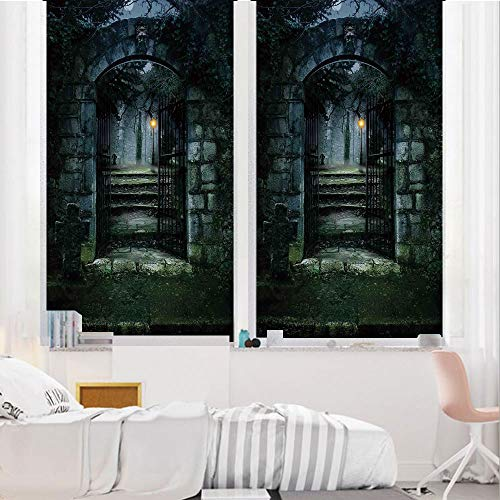 Gothic Decor 3D No Glue Static Decorative Privacy Window Films, Illustration of The Gate of a Dark Old Haunted House Cemetary Dead Myst Fiction Art Print,24