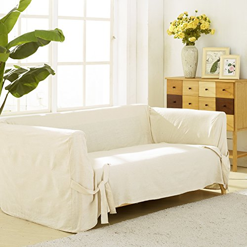 - Deconovo Loveseat Cover Recycled Cotton Strap Sofa Slipcover Couch Cover for 2 Cushion Sofa Beige One Piece