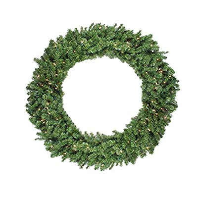 """Northlight 48"""" Pre-Lit Canadian Pine Artificial Christmas Wreath - Clear Lights"""